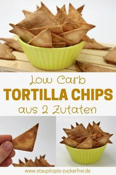 To make Low Carb Tortilla Chips or Low Carb Nachos yourself, you only need 2 ingredients and a few minutes for the preparation. The delicious chips without carbohydrates are a great low carb snack, wh Low Carb Dinner Recipes, Low Carb Desserts, Meal Recipes, Free Recipes, Dessert Recipes, Law Carb, Healthy Low Carb Snacks, Keto Snacks, Healthy Food