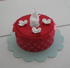 Tea Light Cake by TriciaH - Cards and Paper Crafts at Splitcoaststampers Gel Candles, Tea Light Candles, Battery Operated Tea Lights, Battery Lights, Exploding Box Card, Light Cakes, Character Cakes, Paper Cake, Christmas Tea