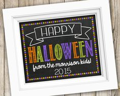 Happy Halloween Printable ~ Personalized Family Halloween Sign ~ Printable Halloween Photo Prop ~ Chalkboard Halloween Poster Print by SubwayStyle on Etsy
