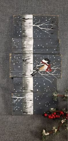 Christmas painting on pallet wood, White Birch and bird with red scarf, Red buffalo plaid scarf, hand painted Christmas decor on wood - dekoration Christmas Wood, Christmas Signs, Christmas Wreaths, Christmas Decorations, Christmas Ornaments, Etsy Christmas, Christmas Snowman, Christmas Art Projects, Christmas Quotes