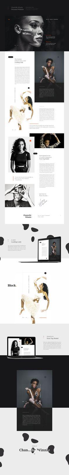 Chantelle Winnie Personal Website on Behance #site #web #website #ui #ux #design #bw #fashion