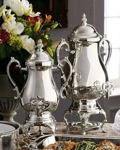 Silver-Plated Coffee Urns at Horchow.  On my wishlist. 1 holds 25 cups of coffee and the other holds 50 cups. For my next party.
