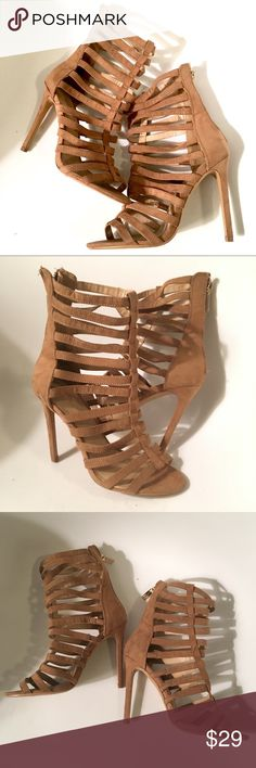 New Express Heels Size 6 Faux suede gladiator heels size 6 tan light brown color. These are new and never worn outside, been sitting in closet w no box, see picture for bottom of shoe,pretty much almost perfect.  Zipper in back to open. Express Shoes Heels
