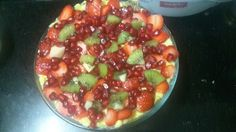 Upper view of the 6 Layer Fruit Custurd n Cake Pudding