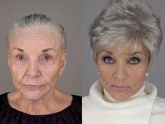 80 Year Old Recreates Her Younger Face: A MAKEOVERGUY® Makeover - YouTube Daily Makeup Routine, Beauty Routines, Super Short Hair, Short Hair Cuts, Beauty Makeup, Hair Beauty, Sagging Skin, Clean Face, Pixie Hairstyles
