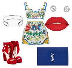 """""""Fourth of July fun"""" by cherriepop ❤ liked on Polyvore featuring Dolce&Gabbana, Jimmy Choo, Giles & Brother, Yves Saint Laurent and Smashbox"""