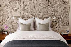 map wallpaper as bedroom decor