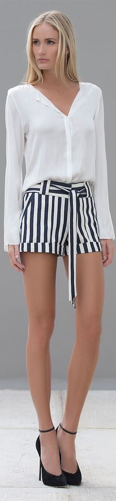 pretty white blouse and striped navy & white shorts = summer fashion trend