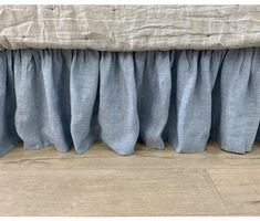 This bed skirt is made up of chambray surf blue linen, weaved in blue and white linen yarn, soft, yet firm. The gathered ruffle is the feature of this bed skirt and does not flutter with the wind and stays in the place. Ruffle Bedding, Blue Bedding, Queen Size Bedding, Linen Bedding, Romantic Master Bedroom, Romantic Room, Romantic Homes, Bedroom Design Inspiration, Bedding Inspiration