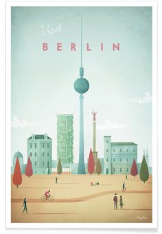 Vintage travel poster of Berlin, Germany. An original illustration for Travel Po… Vintage travel poster of Berlin, Germany. An original illustration for Travel Poster Co. by Henry Rivers. Vintage Paris, Vintage Pink, Vintage Style, Poster Wall, Poster Prints, Art Print, Berlin Travel, Germany Travel, Poster Online