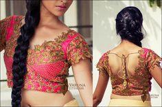 Blouse Back Neck Designs - Coral Pink Blouse Back Neck Design