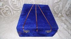 JEWELRY BOX ETC. DARK BLUE VELVET DIVIDED GOLD ACCENTS