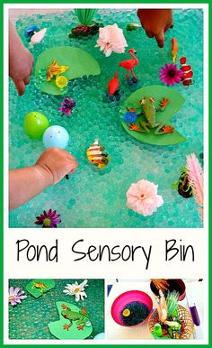 Fun and easy to set up pond sensory bin. Kids can create their own sensory bins