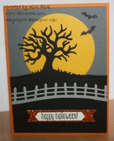Our family hasn't really celebrated Halloween, but I just couldn't resist this cute new stamp set with the matching framelits set in the new Stampin' Up! Holiday Catalog. I could see using this tree and the fence in MANY other...