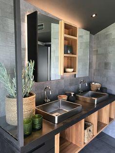 Villa Älvnäs. J.Israelson / NorraGotland Bathroom Inspiration, Bathroom Ideas, Ping Pong Table, Sink, Wood Tiles, Concrete Wood, Elegant, Architecture, Create