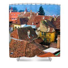 #Transylvania Rooftops Shower Curtain by Judi Saunders.