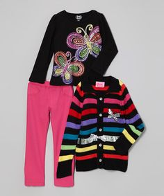 Another great find on #zulily! Black & Silver Stripe Butterfly Sweater Set - Toddler #zulilyfinds