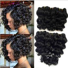 Summer New 8 inch Deep wave Tissage Bresilienne Queen Weave Beauty Deep Curly Short Hair With Closure West Kiss Virginhair Deals