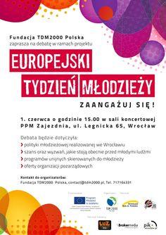 """Plakat """"Europejskiego Tygodnia Młodzieży"""" organizowanej przez Fundację #TDM2000 Polska"""