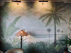 The Esplanade Hotel in St Kilda, Melbourne. #stkilda #espy #visitmelbourne #bottlegreen #greeninterior #distressedmural #relaxeddining #botanicalmural #botanicalinterior #jurassicdecor #indoormural #interiormural #botanicaldecor #riparian #primordialchic #wildinterior #naturalmural #rusticcontemporary #muraldetail #palmtreemural #ilovepalms #secludedbeach #beachscenery #naturalmural #naturalinterior Botanical Interior, Botanical Decor, Visit Melbourne, Beach Scenery, Natural Interior, Secluded Beach, St Kilda, Rustic Contemporary, Balaclava