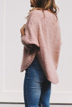 Fuzzy sweater with side slit detail and a high-low hemline is just the style to follow you from Fall well into Spring here in Alaska! #AlaskaStyle