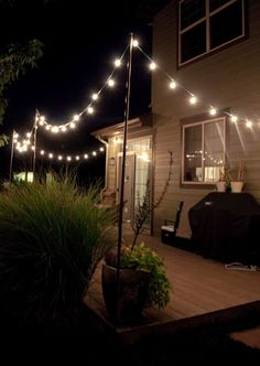 I have been looking for a good DIY way to hang string lights on the back deck. This is by far the best looking and cheapest I have found. Outdoor Parties, Outdoor Entertaining, Outdoor Rooms, Outdoor Gardens, Outdoor Cafe, Outdoor Restaurant, Rustic Outdoor, Outdoor Living, Outdoor Retreat