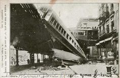 """Wreck of the 9th Ave """"L"""" at 53rd St, NYC 1905"""
