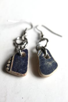 blue beach pottery earrings bohemian jewelry by SeaZephyr on Etsy