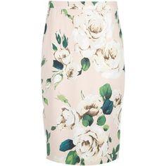 DOLCE & GABBANA cabbage rose print pencil skirt