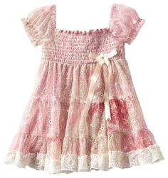 Rare Editions Girls Lace Smocked Tiered Dress Pink Cream size 2T Vintage Bow New #RareEditions #Dressyholidaypageantwedding