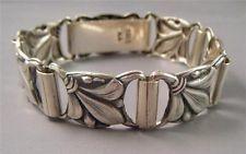 """VTG Fleur-De-Lis Danish Denmark 830s Silver Panel Link Bracelet 6.5"""" 21g SIGNED"""