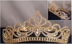 The base of the tiara consists of a line of collet set rhinestone , terminating in curved ends, and the top is bordered by a delicate wreath of laurel , meeting at a collet-set rhinestone in the cente