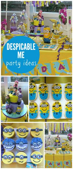 A fun Despicable Me birthday party with Minion cupcakes, cookies and cake! See more party planning ideas at CatchMyParty.com!