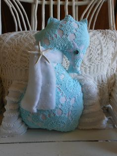 Christmas Angel Seahorse Turquoise and White by searchnrescue2, $60.00