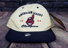 35f359ba9e104 Vintage 90s Deadstock Cleveland Indians MLB Snapback Hat Baseball Cap Patch