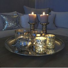 45 Pretty Decorating Ways to Style Your Coffee Table - Decorative Tray - Ideas of Decorative Tray - coffee table centerpieces; table centerpieces for living room; Coffee Table Centerpieces, Decorating Coffee Tables, Coffee Table Candle Decor, Coffee Table Christmas Decor, Decoration Table, Xmas Decorations, Living Room Designs, Home Accessories, Bedroom Decor