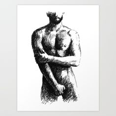 Nude Drawing, Male Nude Art, Black and White, Pen and Ink Nude, Man. Guy Drawing, Figure Drawing, Photographie Art Corps, Male Body Art, Beard Art, Art Of Man, Art Case, Art Sketchbook, Erotic Art