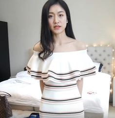 OFF SHOULDER LAYERED FITTED KNIT DRESS