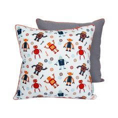 ROBOTS two-sided pillow - Lamps & Co.  Decorative and colourful pillow is a great item for children's room. Pillow has different designs on both sides, that are sure to stimulate your child's imagination.