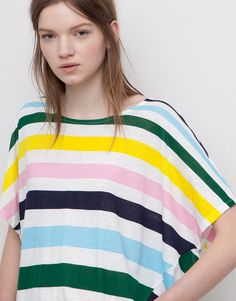 Pull&Bear - woman - t-shirts and tops - colourful stripes t-shirt with front seams - ice - 05242311-V2015
