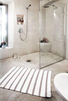 """Inspiration for your walk-in shower - """"Walk-In"""" style in the .- Inspiration für Ihre begehbare Dusche – """"Walk-In""""-Style im Bad bathroom design-ideas-rustic-walk-in-shower-runner -"""