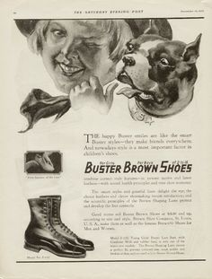vintage shoe ad featuring a boston terrier - the lady has a crazy eye going in this pic