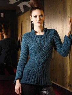 A little too much, but a pretty shape and nice cablework. Pullover , 2116 | Schachenmayr.com  $