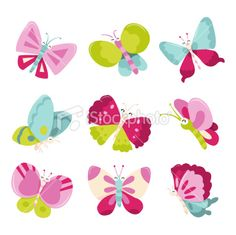 Happy Sweet Butterflies Icons Royalty Free Stock Vector Art Illustration