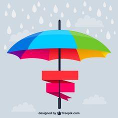 Rainbow umbrella banner vector