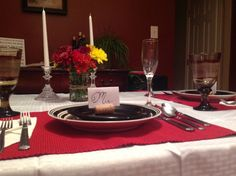Surprise him! anniversary dinner for two. with brown paper to color