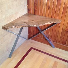 Hand made Live edge solid slab table with steel legs. Made out of old growth Big Leaf maple from the west coast. A truly unique one of a kind