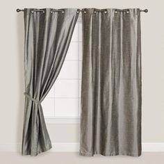 "Silver Dupioni Grommet Curtain (World Market.com), 48""x84"" = $24.99 (would need 2 for master bedroom)"