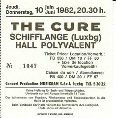 The Cure live concert: 10.06.1982 Schifflange - Hall Polyvalent (Luxembourg)