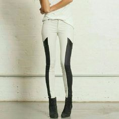 Rag & Bone Grand Prix Leather Panel Leggings  Material: Cotton/Roica/100℅ genuine Lamb leather Color: Winter white/ black  Size 29, but fits like a 27. I am a size 25/ 26  rag & bone Jeans